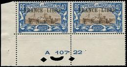 ** SAINT PIERRE & MIQUELON - Poste - 237, En Paire, Cdf Avec Numéros: 40c. Bleu Et Brun France Libre - Neufs