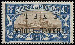 * SAINT PIERRE & MIQUELON - Poste - 237A, Surcharge Renversée, Signé Brun & Calves: 40c. Bleu Et Brun France Libre - Neufs