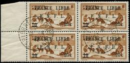 O SAINT PIERRE & MIQUELON - Poste - 274, Bloc De 4: 20c. S. 10c. Brun-jaune France Libre (Maury) - Oblitérés