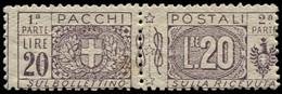 ** ITALIE - Colis Postaux - 19, 20l. Violet-brun (Sas. 19) - Paketmarken