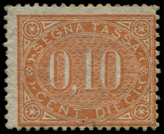 * ITALIE - Taxe - 2, Gomme Non Originale: 10c. Jaune-brun (Sas. 2) (cote*) - Portomarken