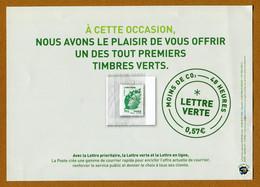"""AVANT PREMIERE Réservée Au PERSONNEL De LA POSTE : """" LA LETTRE VERTE """" 01.10.2011 (NEUF) - 2008-13 Marianne De Beaujard"""