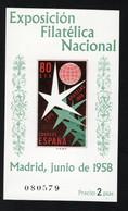 1958 Expo Brüssel Mi ES BL13 Sn ES 877a Yt ES BF19 Sg ES MS1285 Edi ES 1222 - 1951-60 Unused Stamps