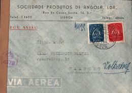 ! 1948 Airmail Cover, Luftpostbrief Lisboa, Portugal Nach Hamburg Volksdorf, Zensur, Censure, Censor - Covers & Documents