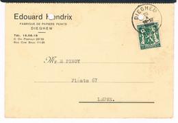 Stempel    DIEGHEM  1936  Op Bestelkaart  EDOARD HENDRIX   Fabrique De Papiers Et Peints - Autres