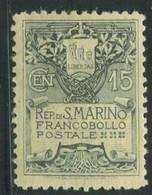 SAN MARINO 1910 5 C. FONDO GIALLO * GOMMA ORIGINALE - Unused Stamps