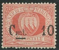 SAN MARINO 1892 CIFRA O STEMMA SOP.TI 10C. SU 20 C. ** MNH CENTRATO - Unused Stamps