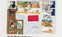 ISRAEL :Correspondance PAR AVION+EXPRESS Pour La France Avec Tabs  N1042/44+1005+(Sans Tabs)N°963 +966(x2)+Bloc Partiel - Cartas
