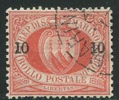 SAN MARINO 1892 CIFRA O STEMMA SOP.TI 10C. SU 20 C. ANNULLATO - Unused Stamps