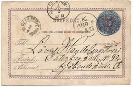 Sweden PSC Fem Ore Overprinted 5 - Sent From ?POGR? 2sep1885 To Danmark - Nice Postmarks - Briefe U. Dokumente