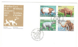 Canada Stamps Unaddressed FDC Block Of 4 Different 1994 Prehistoric Life In Canada $.43 Stamps - 1991-2000