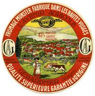 Etiquette Ancienne : Fromage, Munster Avenir Agricole Gérardmer Hautes Vosges 88  45% MG - Cheese