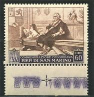 SAN MARINO 1952 COLOMBO 60 LIRE ** MNH - Nuovi