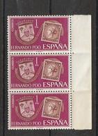 Dependencias De España. Fernando Poo. Bloque De 3 Sellos Nuevos. Edifil  N ° 262. 1968. - Fernando Poo