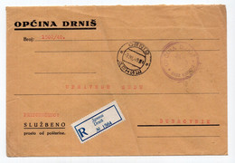 1940 KINGDOM OF YUGOSLAVIA,CROATIA,DRNIŠ TO DUBROVNIK,OFFICIAL POST,REGISTERED COVER,POSTER STAMP AT THE BACK - Dienstpost