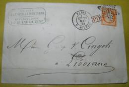 1874  GO FROM  PARIS  TO  LIVORNO /   VIAGGIATA  DA  PARIGI  PER LIVORNO - 1870 Siège De Paris