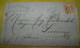 1873  GO FROM  PARIS  TO  LIVORNO /   VIAGGIATA  DA  PARIGI  PER LIVORNO - 1870 Siège De Paris