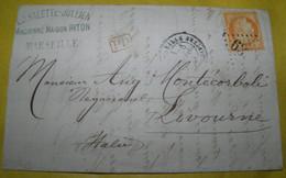 1873 COMMERCIAL  LETTER  GO FROM  PARIS TO  LIVORNO / LETTERA  COMMERCIALE  VIAGGIATA  DA  PARIGI  PER LIVORNO - 1870 Siège De Paris
