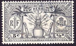 NEW HEBRIDES 1925 ½d (5c) Black SG43 FU - Used Stamps
