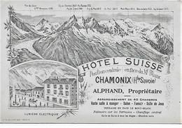 74 - CHAMONIX - Carte De Visite Litho HOTEL SUISSE - Alphand Propriétaire. Au Verso Prix De Pension Et Des Excursions - Tarjetas De Visita