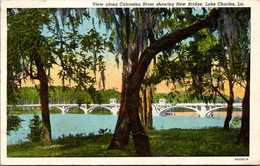 Louisiana Lake Charles View Along Calcasieu River Showing New Bridge 1942 Curteich - Other