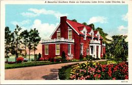 Louisiana Lake Charles Beautiful Southern Home On Calcasieu Lake Drive Curteich - Other