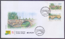 KIBRIS TURKISH CYPRUS 2018 FDC - EUROPA Bridges, Complete Set On First Day Cover - Cartas