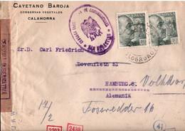 ! 1943 Brief Calahorra, Spanien, Spain, Nach Hamburg, Zensur, Censure, Censor, Censura - 1931-50 Cartas