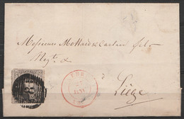 LSC Affr. N°6 P8 Càd AUBEL/27 JANV 1855 Pour LIEGE (au Dos: Càd LIEGE) - 1851-1857 Medallions (6/8)