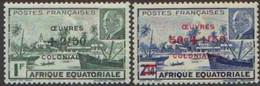 Détail De La Série Maréchal Pétain Surchargés -> Oeuvres Coloniales ** A E F N° 195 - 196 - 1944 Maréchal Pétain, Surchargés – Œuvres Coloniales