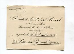 Carte De Visite Notaire : Paris :  Etude REVEL  Rue Des Pyramides   VOIR  DESCRIPTIF  §§§ - Cartes De Visite