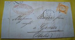 """1874 COMMERCIAL  LETTER  GO FROM  PARIS TO GENOA / LETTERA  COMMERCIALE """" FARINE- GRANI """" VIAGGIATA DA PARIGI X GENOVA - 1870 Siège De Paris"""