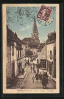 CPA Auzances, Rue De L`Eglise, Vue De La Rue - Auzances