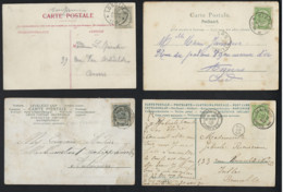 4 Postkaarten Met Depots Relais Stempels Van SAUVEGARDE (RUYSBROECK) , LONGLIER En BEERSSE ; Staat Zie Scan ! LOT 381 - 1893-1907 Armoiries