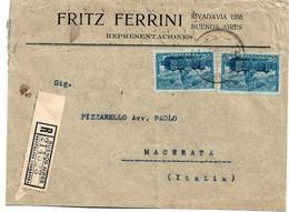 Arg195 /Kongressgebäude (2 X) Auf Einschreiben 1910 Nach Italien (Macerata) - Cartas