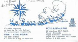 63 LUZET . VOLVIC LA ROSE DES VENTS  /  HOTEL    RESTAURANT - Cartes De Visite