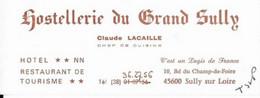 45 SULLY SUR LOIRE /  HOTEL   RESTAURANT - Cartes De Visite