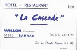 07 SARRAS  LA CASCADE /  HOTEL   RESTAURANT - Cartes De Visite