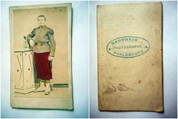 PHOTO CDV 19 EME MILITAIRE SOLDAT PHOTO PEINTE  Cabinet WERTHEIM  A PHALSBOURG MOSELLE - War, Military