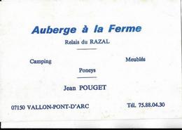 07  VALLON PONT D ARC .  AUBERGE A LA FERME - Cartes De Visite