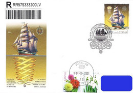 Latvia Lettland Lettonie 2021 (03) Historical Latvian Ships - Three-mast Barkentine Mercator 1895 (a.fdc) - Lettland
