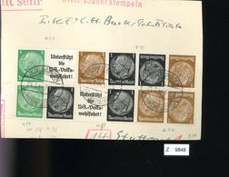 Deutsches Reich, Briefstück Aus Gebrauchspost Mit Zusammendruck: W 74, K 21, W 59, W 93, K 22 - Se-Tenant