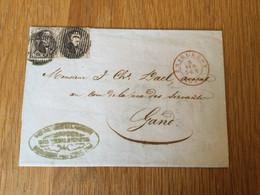 Belgique : Paire Du N°6 Sur Pli De Charleroy (cachet 25) Vers Gand (8/04/1853) - 1851-1857 Medallions (6/8)