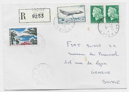CHEFFER 30C PAIRE +1FR+ PA 2FR  LETTRE REC 01 THOIRY  AIN 25.8.1972  POUR GENEVE - 1967-70 Marianne De Cheffer