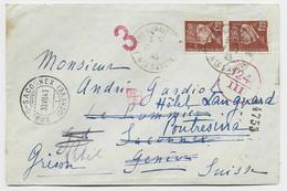 PETAIN 1FR20 PAIRE  LETTRE BONNE S MENOGE 1943 HTE SAVOIE POUR GENEVE + CENSURE ITALIENNE TARIF FRONTALIER RARE - 1941-42 Pétain