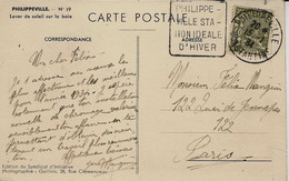 """1934- C P A De PHILIPPEVILLE  Affr. 40 C Oblit. DAGUIN """" PHILIPPE- / VILLE STA-/ TION IDEALE / D'HIVER """" - Briefe U. Dokumente"""