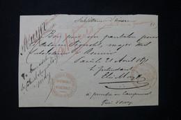 FRANCE - Griffe Rouge Du Cabinet Du Ministère De La Guerre + Cachet Sur Document En 1871-Période De La Commune - L 89302 - 1849-1876: Periodo Classico