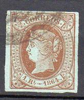 1864 Spagna Regina CORREOS N 63 Bruno Su Verde Unificato Timbrato Used - Usados