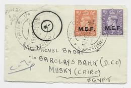 ENGLAND M.E.F. MIGNONNETTE SMALL COVER TRIPOLI 19.11.1943 LIBIA TO EGYPT CENSOR - Südwestafrika (1923-1990)