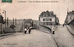 CPA   71   LE CREUZOT---RUE DE CHALON, DES ECOLES ET DU GUIDE---1907 - Le Creusot